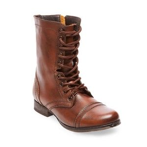 Steve Madden Brown Leather Troopa Combat Boots